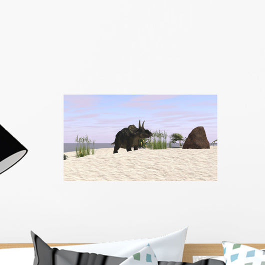 Triceratops Beach Wall Decal Design 1