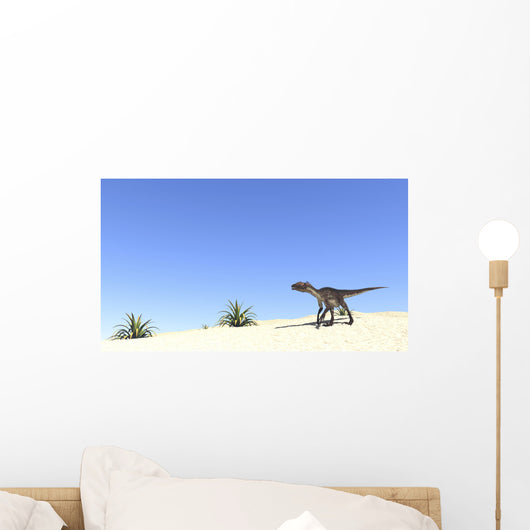 Utahraptor Desert Landscape Wall Decal Design 2