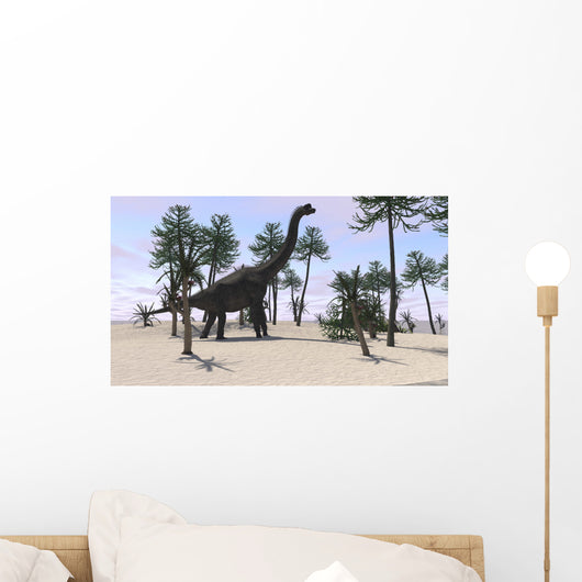 Large Brachiosaurus Tropical Environment Wall Decal Design 2