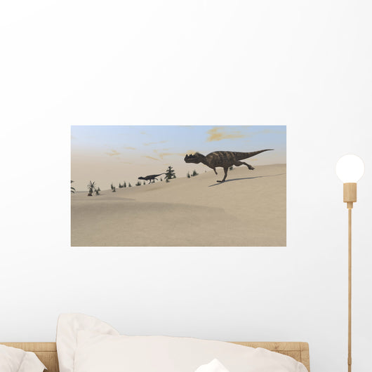 Ceratosaurus Running across Barren Wall Decal Design 5