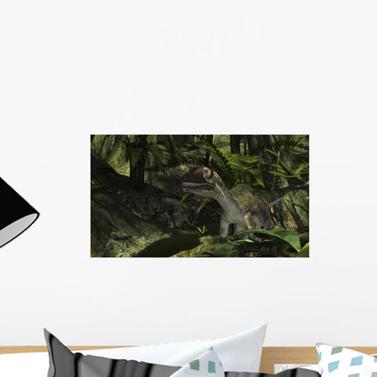 Utahraptor Prehistoric Forest Wall Decal Design 4