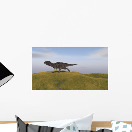 Majungasaurus Running across Grassy Wall Decal Design 3