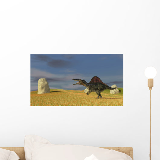 Spinosaurus Walking across Grassy Wall Decal Design 1