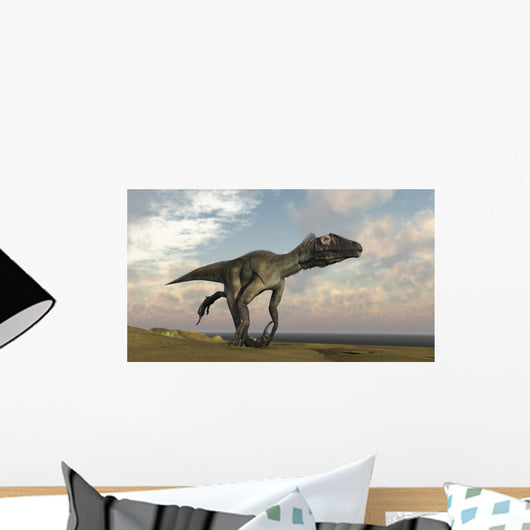 Utahraptor Running across Barren Wall Decal Design 2