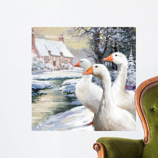 Geese By Stream Wall Mural
