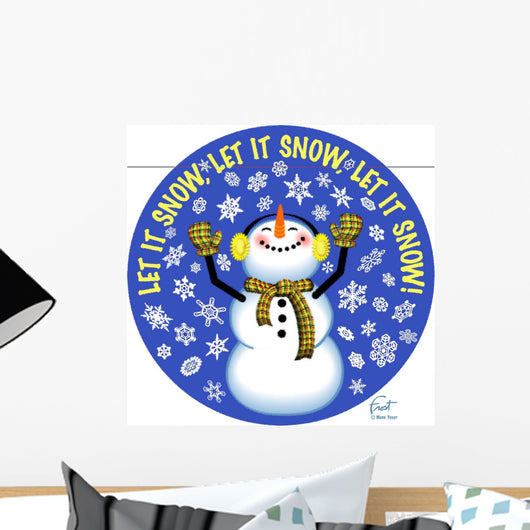 Snowman Let It Snow Wall Mural