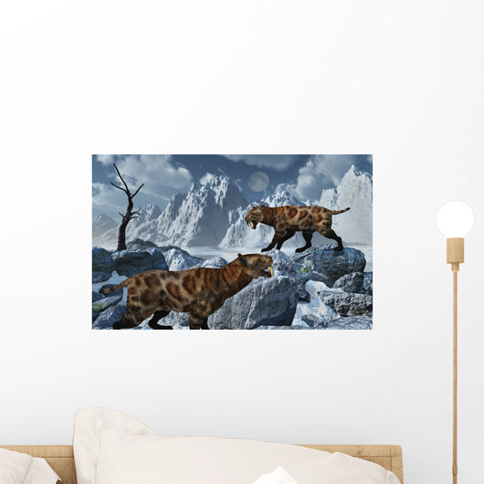 Pair Sabre-toothed Tigers Cold Wall Decal