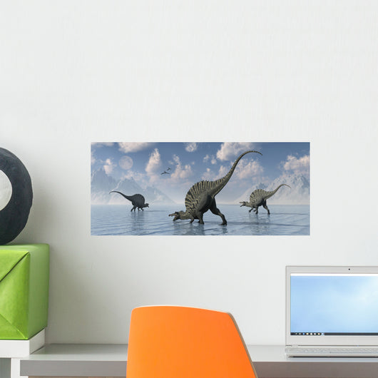 Group Spinosaurus Dinosaurs Spending Wall Decal