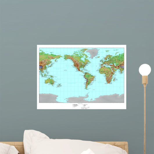 Topographical World Map Wall Mural