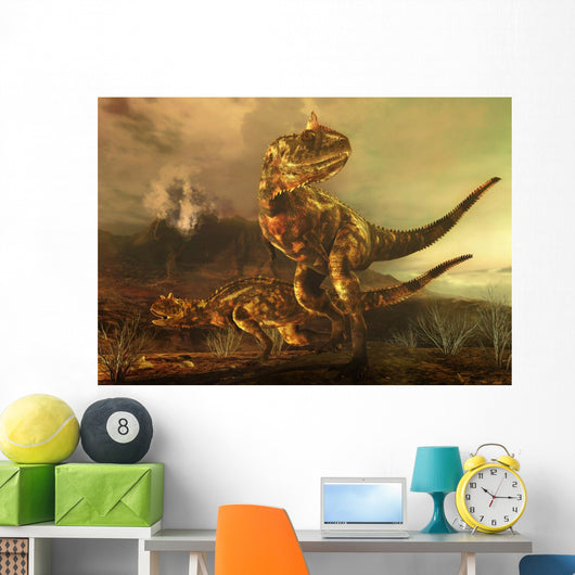 Pair Carnotaurus Dinosaurs Prowl Wall Decal
