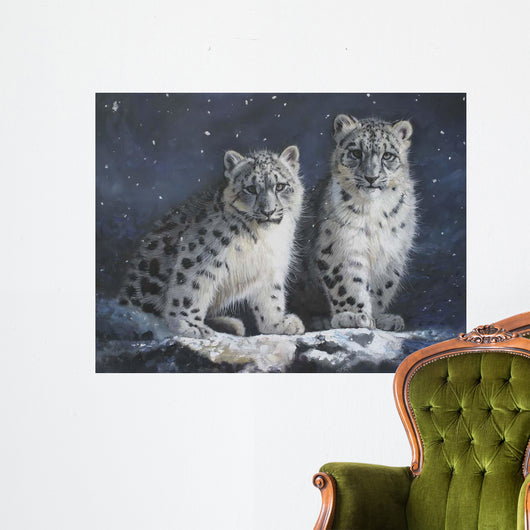 Young Snow Leopards Into the Dark 2011 Wall Mural