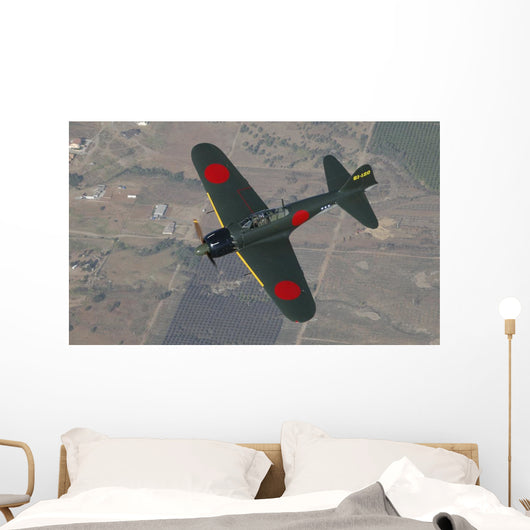 A6m Japanese Zero Flying over Fields Wall Decal