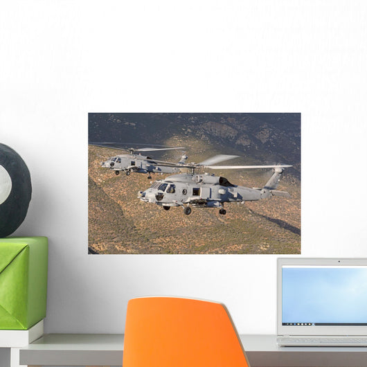 Two Mh-60 Helicopters Us Wall Decal