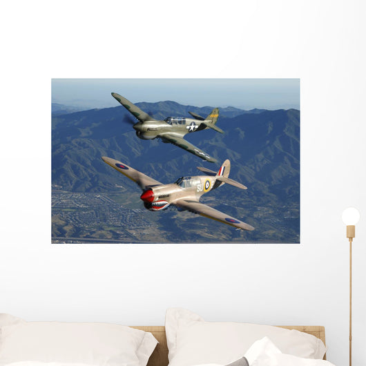 P-40 Warhawks Flying over Mountains Wall Decal