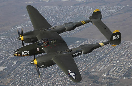 P-38 Lightning Flying over City Wall Decal