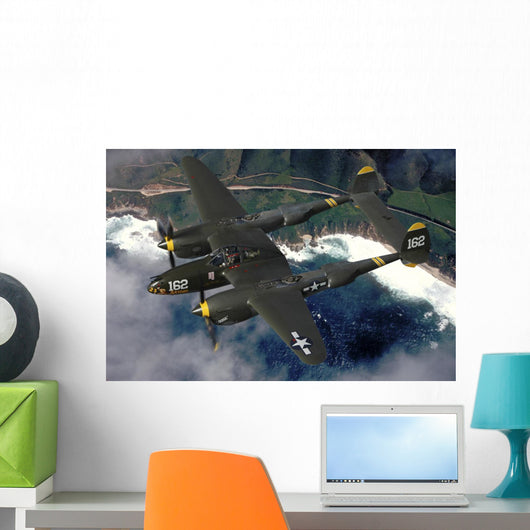 P-38 Lightning Flying over Ocean Wall Decal