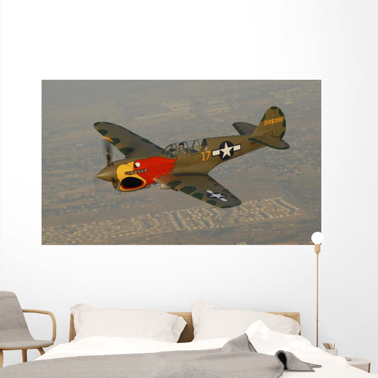 P-40 Warhawk Flying over Town Wall Decal