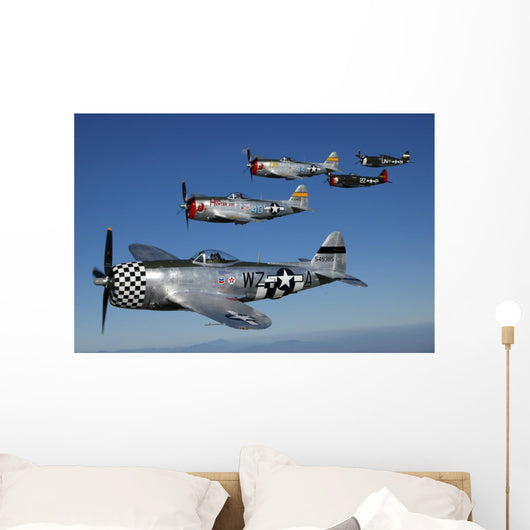 Formation P-47 Thunderbolts Flying Formation Wall Decal