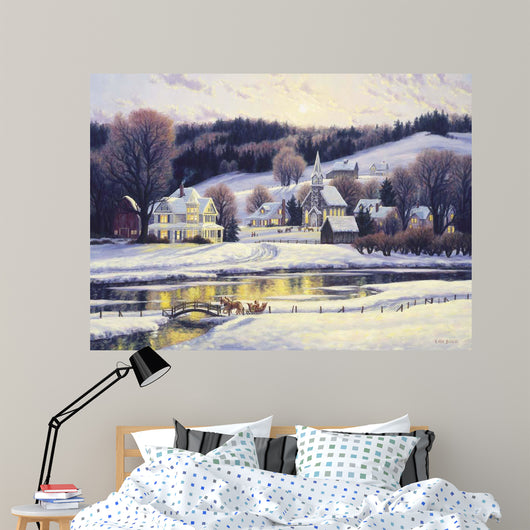 Moonlit Village Wall Mural