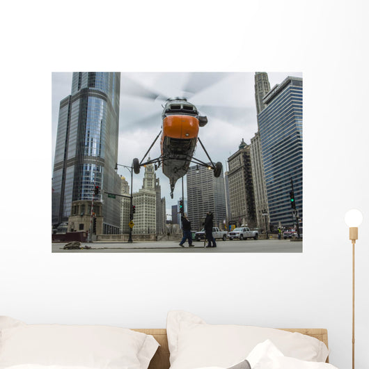 S-58t Helicopter Comes down Wall Decal