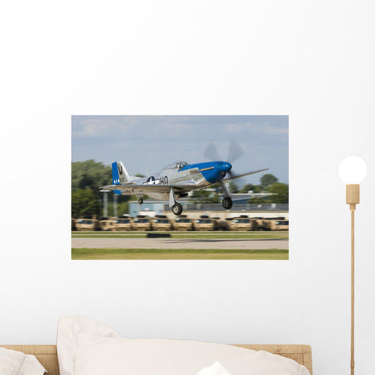 Blue P-51 Mustang Takes off Right Profile Wall Decal