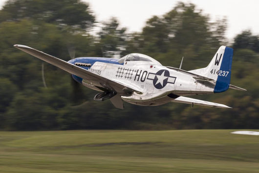 Blue P-51 Mustang Takes off & Banks Right Wall Decal