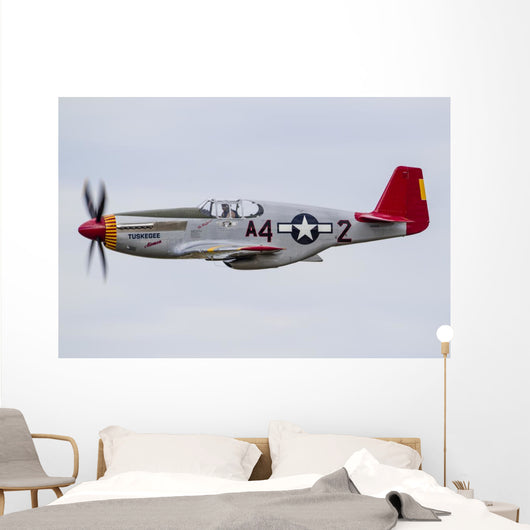 P-51 Mustang Flies Eaa Wall Decal