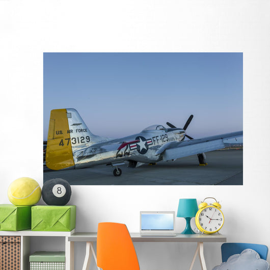 P-51 Mustang Parked Ramp Wall Decal