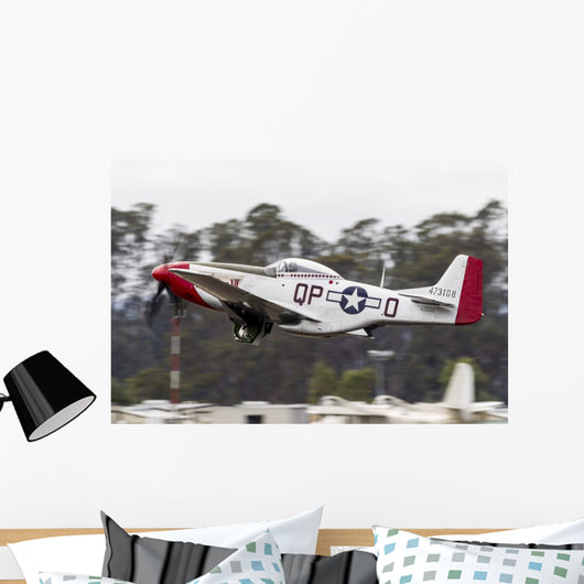 Red P-51 Mustang Takes off Wall Decal