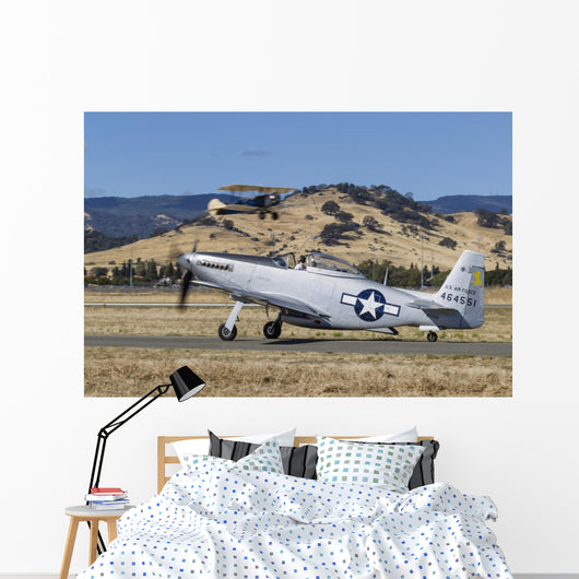 P-51 Mustang Taxiing Vacaville Grounded Wall Decal