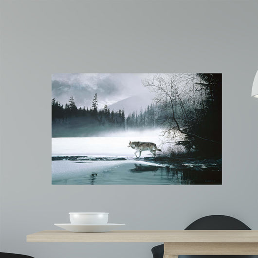 Spring Mist Gray Wolf Wall Mural