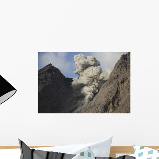 Ash Cloud Rises from Wall Decal Design 12
