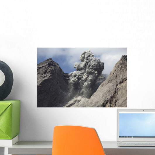 Ash Cloud Rises from Wall Decal Design 5