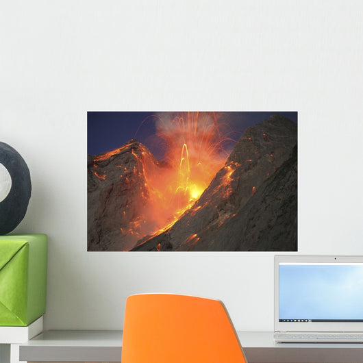Strombolian Type Eruption Batu Wall Decal Design 2