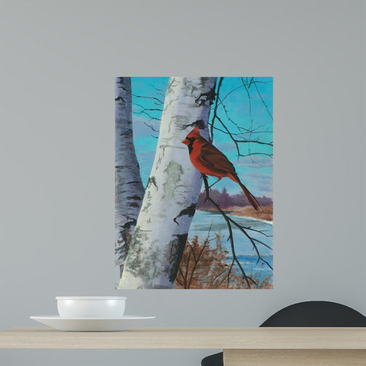 Painting for Red Bird Wall Decal