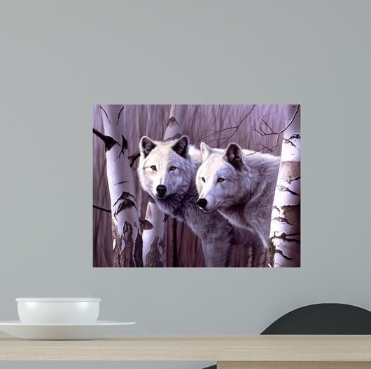 A Pair Of White Wolves Wall Mural