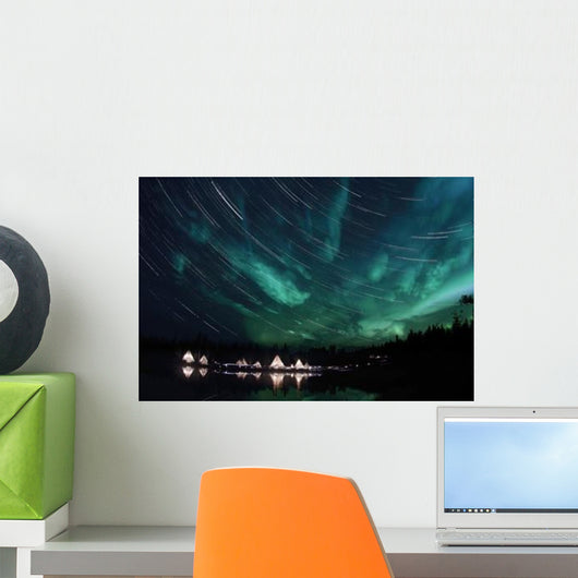 Aurora and Star Trails Wall Decal Design 1