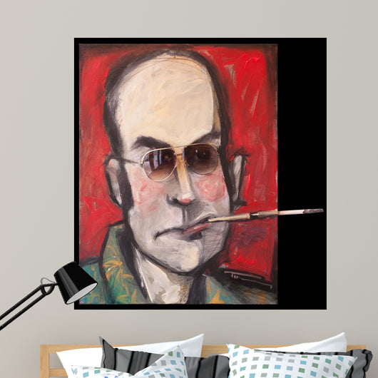 Hunter S Thompson With Cig Black Wall Mural
