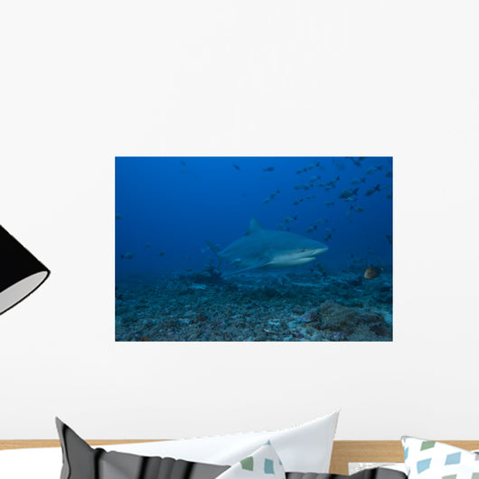 Large Bull Shark Bistro Right Profile Wall Decal