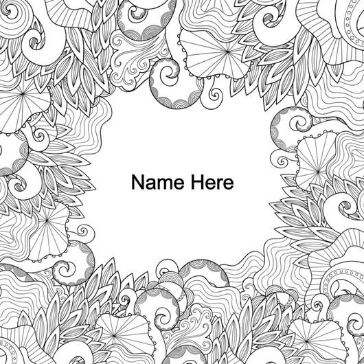 Custom Detailed Floral Coloring Page Decal