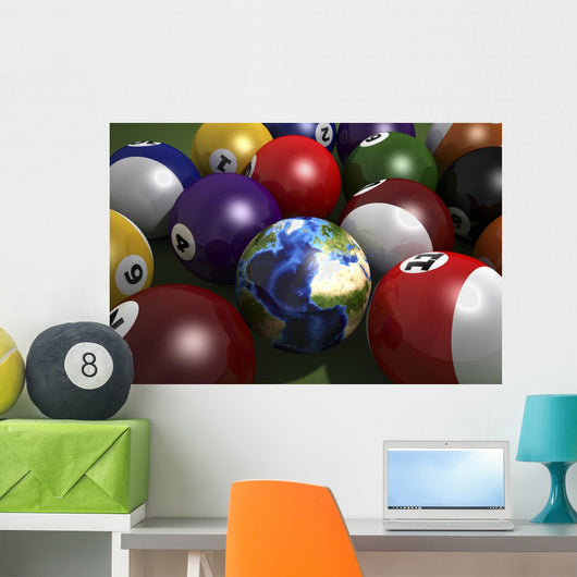 Pool Table with Balls Earth Africa Wall Decal