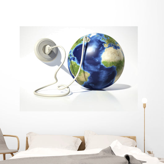 Planet Earth with Electric Wall Decal