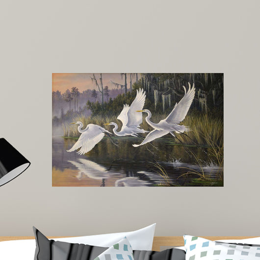 Morning Departure Egrets Wall Mural