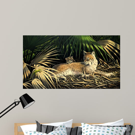 Sunny Spot Bobcat with Kittens Wall Mural