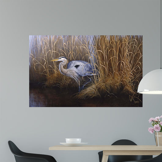 Set In Gold - Great Blue Heron Wall Mural