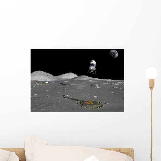 Lunar Shuttle Descends toward Wall Decal