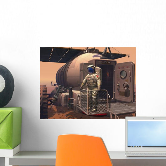 Astronaut Leaving Mars Rover Wall Decal