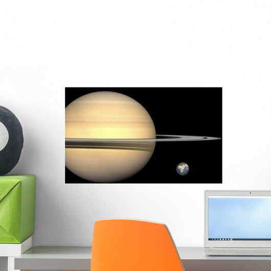 Illustration Saturn and Earth Wall Decal