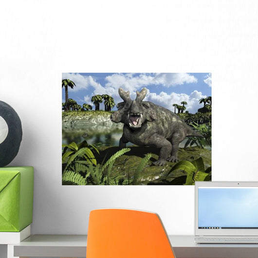 Estemmenosuchus Mirabilis Stands before Wall Decal