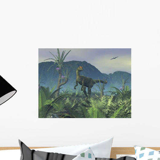 Colorful Adult Male Dilophosaurus Wall Decal